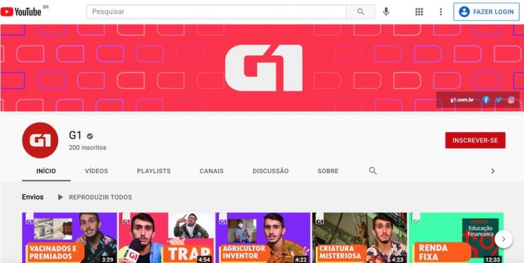canal do g1 no YouTube